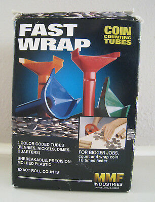 MMF Fast Wrap Coin Counting Tubes / Pennies / Nickels / Dimes / Quarters In Box