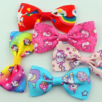 1/5/10Pcs Cartoon Unicorn Bow Hair Clips Hair Pin Kid Baby Girl Hair Accessory