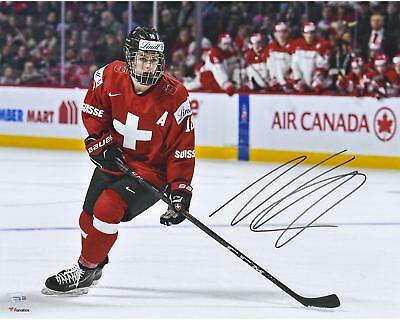 Nico Hischier Devils Signed 16x20 Switzerland 2017 World Junior Champs Photo