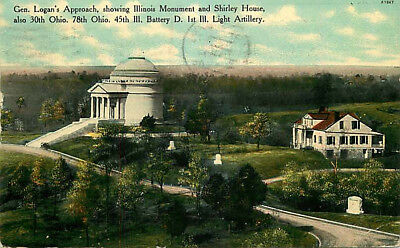 Postcard Illinois Monument & Shirely House, Civil War, Vicksburg, Mississippi