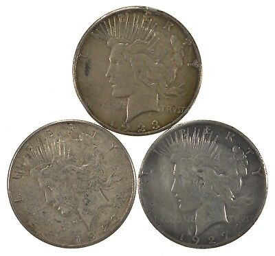 Lot of 3 1922-S 1923-S 1927 Peace Silver Dollars 90% Silver Coin Collection *531