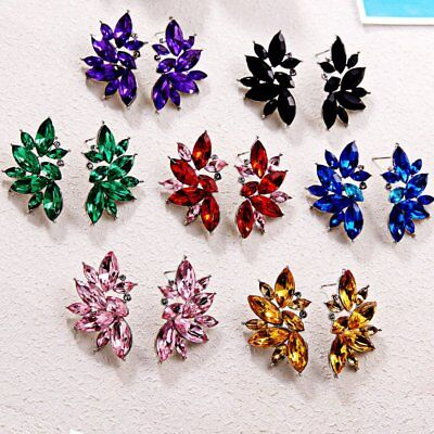 Fashion Women Bridal Crystal Rhinestone Drop Dangle Ear Stud Earrings Jewelry