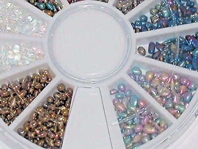 300pc.Gems tiny glass moon pebbles stones Mix Fairy Wheel for bottles case Kit