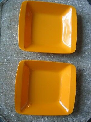 Vintage Pair 2 MidCentury Fiskars Finland Fiskamin 1514 Orange Square Dishes