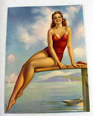 "Rare 1930s Jules Erbit ""Diving Diana""Salesman Sample Pin Up Pinup Calendar Litho"