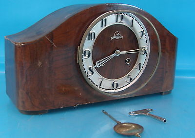 Vintage Wooden Antique Art Deco German Groblinger Mantle Clock W/ Pendulum & Key