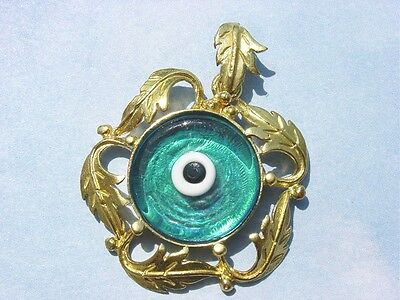 Gold Plated * Murano Glass Evil Eye Roman Ancient Greek Leaf Pendant Necklace