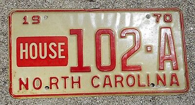 North Carolina 1970 HOUSE  license plate # 102 - A