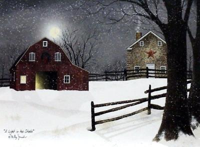 Billy Jacobs A Light in the Stable Farm Barn Print 16 x 12