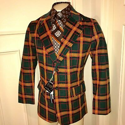 NEW Vtg 60s Green PLAID Cord CORDUROY Mens 38 R Sport Coat Smoking Jacket Blazer
