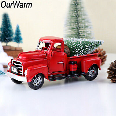 Christmas Vintage Red Metal Truck Xmas Holiday Kids Gifts Toy Table Top Ornament