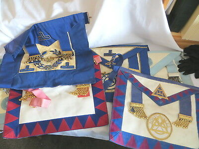 5 Masonic Aprons  - Various Types - All A Bit Grubby (36)