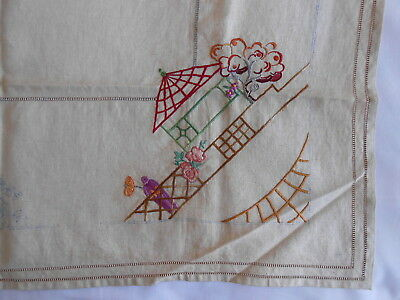 1930s linen tea cloth, partly embroidered, unused