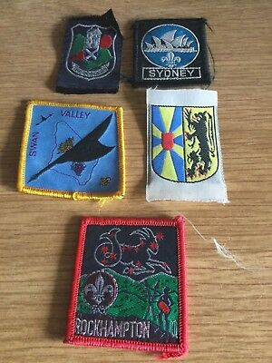 Lot of 5 Boy Scout Distrct Badges Rockhampton Swan Valley Sydney The Borders