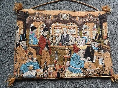 Handmade Vintage Wool Tapestry Locals in the Pub - Lovely Retro Wool Work