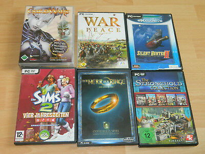 Konvolut 6 Pc Dvd Cd Rom Spiele Guild Wars Sims Silent Hunter Stronghold Usw