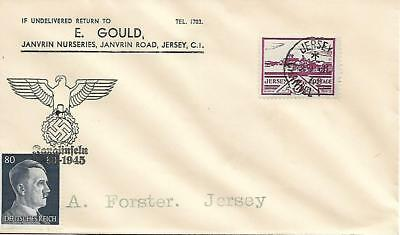 Cover Jersey 1943, Jersey stamp plus Occupation German stamp, Adolph Hitler.