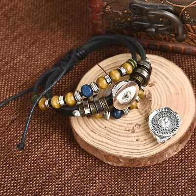 Snap Leather Bracelet Braided Leather Button Bangles Fit 18mm For Women Men Gift