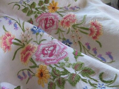 Stunning! Vintage Hand Embroidered Tablecloth-EXQUISITE FLOWERS CARNATIONS,ROSES