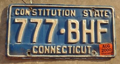 Conecticut 2000 license plate #  777 - BHF