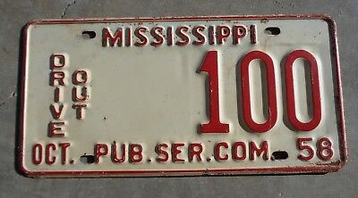 Mississippi 1958 Drive out P.S.C.  license plate #  100
