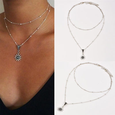 Women Girl Summer Silver Plated Sunflower Chain Choker Pendants Necklace Jewelry