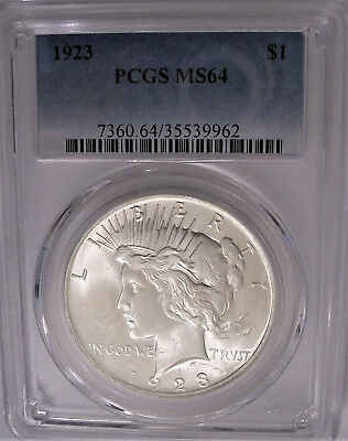 Lot of One PCGS-Certified, MS64, 1923 Peace Silver Dollar Coin: Booming Luster