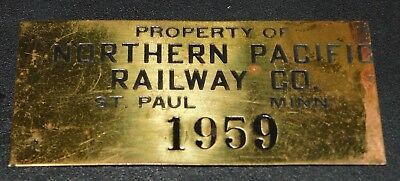Vintage Property of Northern pacific Railway Co. St. Paul Minn. Brass Tag