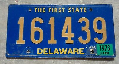 Delaware 1973 Riveted numbers license plate # 161439