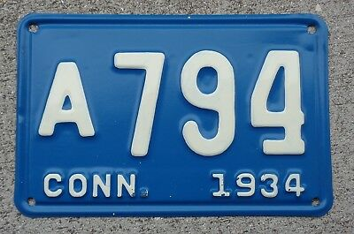 Connecticut 1934  license plate  #   A  794