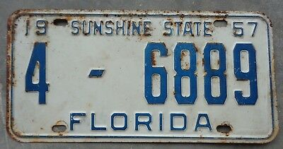 Florida 1957 license plate # 4  -  6889