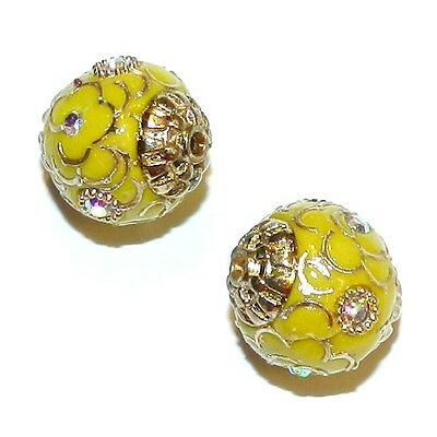 IB227 Yellow with Gold 14mm Round Indonesia-Style Metal & Enamel Beads 10pc