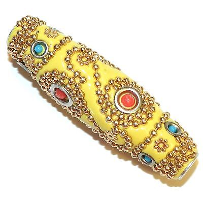IB359 Yellow & Gold 62mm Tapered Oval Indonesia-Style Metal & Enamel Bead 1pc