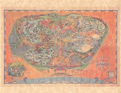 Vintage Style 1968 Disneyland Park Brochure Map Version A > Poster/Print Replica