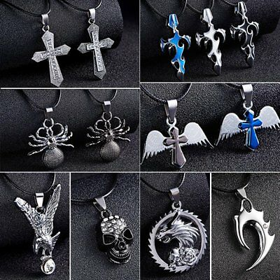 Cool Men's Punk Stainless Steel Flame Cross Wing Pendant Necklace Jewelry Gift
