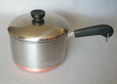 Vtg Revere Ware 3 Qt Saucepan Pot Stainless Steel Copper Bottom USA