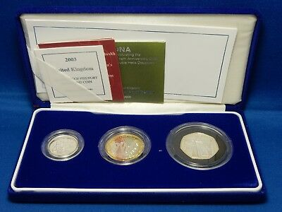 2003 United Kingdom Silver Proof Piedfort 3-Coin Collection