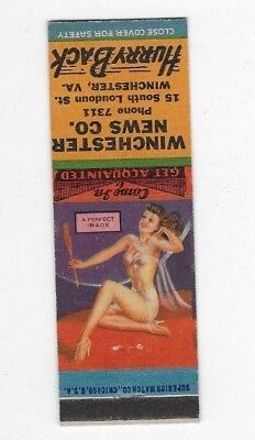 Vintage Pin Up Matchbook Cover WINCHESTER NEWS COMPANY Winchester VA #718