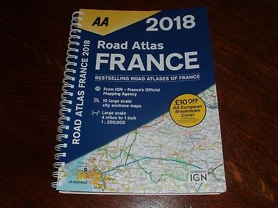 Aa 2018 Road Atlas France 4 Miles To 1 Inch  Spiral Wire Bound Shiny A4 Pages