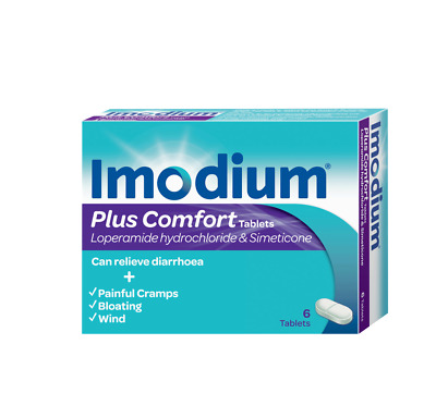Imodium Plus Comfort 6 Tablets - Relieves Diarrhoea - Cramps - Wind - Bloating