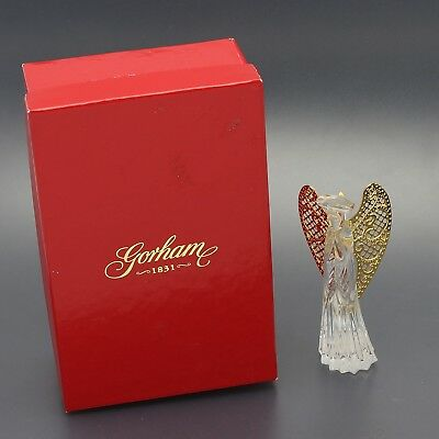 Gorham Crystal Angle with Golden Wings Christmas Tree Ornament in Original Box