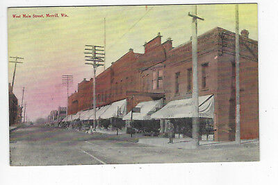 MERRILL WI WEST MAIN STREET USED POSTCARD c. 1910-15 STORES BUSINESSES CLOTHING