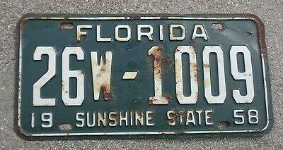 Florida 1958 license plate #  26W - 1009