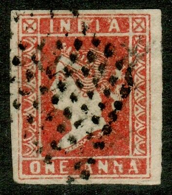 """India 1854 Litho SG12 1a Red Die I Good Margins Retouched value panel """"ANNA"""""""