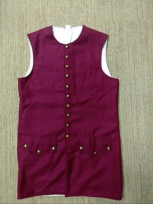 18th century/colonial waistcoat, 100% wool- - size 40 RED WOOL