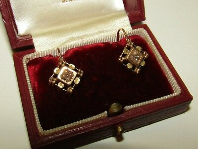 Elegant, Antique, 19Th Century, French, 18Ct Gold Dormeuses Earrings/seed Pearls