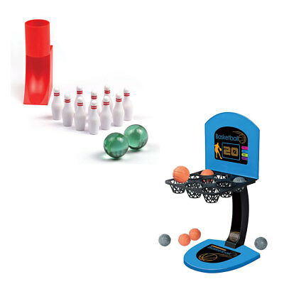NEW (Set/2) Desktop Miniature Bowling & Basketball Mini Tabletop Game - Ages 6+