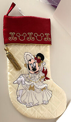 Disney Parks Minnie Mouse Victorian Christmas Holiday Stocking NEW LAST ONE NLA