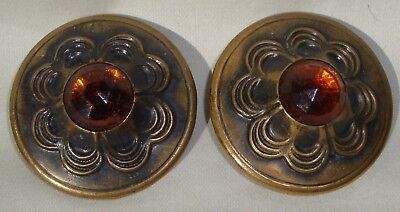 """2 Large 1.75"""" Antique Vintage Metal Faceted amber Glass Sewing Button pair domed"""