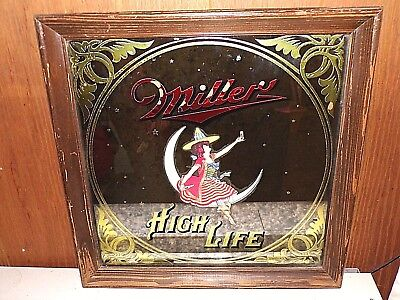 Vintage 1979 Miller High Life Beer Advertising Wall Mirror Sign Bar Moon Girl Lg